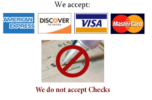We accept Visa Mastercard